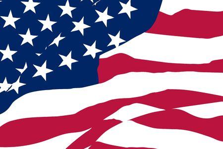 Vector closeup starry striped waving USA flag