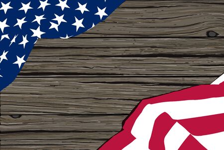 Wooden vector background and star-striped USA flag on it forming a frame. Illusztráció