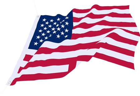 Beautiful vector star-striped USA flag waving in the wind Isolated on a white background