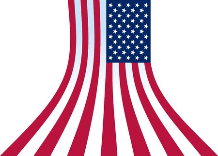 A star-striped US flag hanging vertically expanding below and forming a background 일러스트
