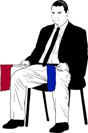 second referee in martial arts karate sitting in the corner with red and blue flags. Observes rivals and raises a flag corresponding to the athlete's color in confirmation of a hit Ilustración de vector