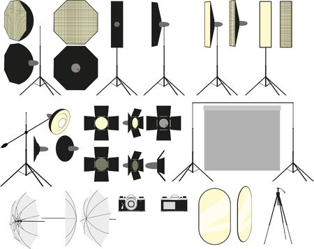 a small set of some accessories for a photo studio tripods and different flashes in the form of a constructor