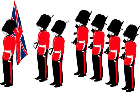 Several traditional British Royal Guard soldiers with different outfits