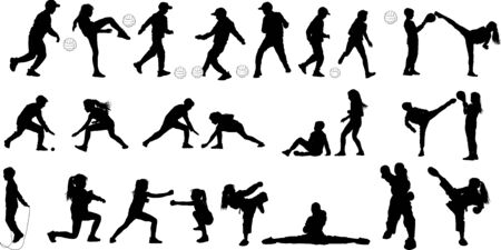 25 black silhouettes of girls and boys playing soccer with the ball and doing martial arts