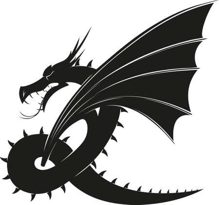 evil black winged mythical dragon isolated on white background