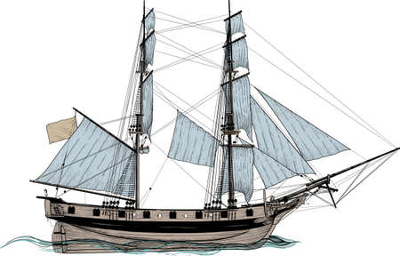 vintage sailing frigate drawn as engraving isolated on white background