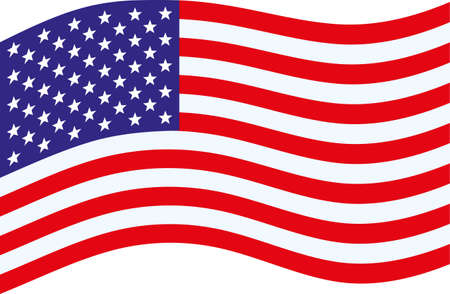 simple beautiful starry striped waving united states flag on white background Vetores