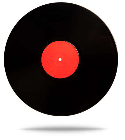 Old classic black vinyl record with an empty red label in the center