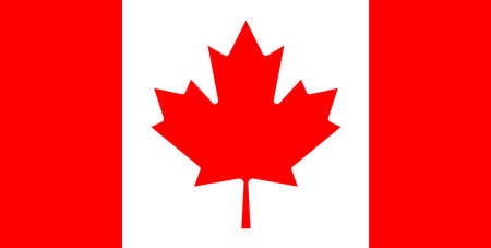 straight horizontal white-red Canadian flag with a maple leaf in the center without folds