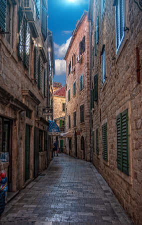 Kotor - Montenegro, 27, July: Street empty from quarantine of the tourist town of Kotor in wonderful sunny weather