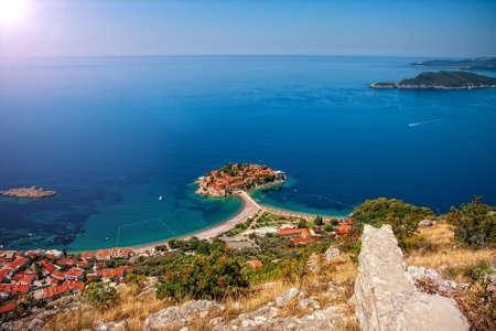 Wonderful top view of the famous Landmark Rafailovici  in Montenegro