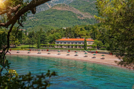 Budva - Montenegro, 29 Jully: Empty Beach in Famous Royal Park Milocer and Hotel Editorial