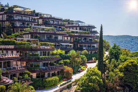 Budva - Montenegro, 31 July: The famous Dukley Gardens Budva in wonderful summer weather Editorial