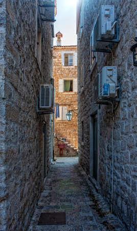 Budva - Montenegro, 31, July: Street empty from quarantine of the tourist town of Budva in wonderful sunny weather