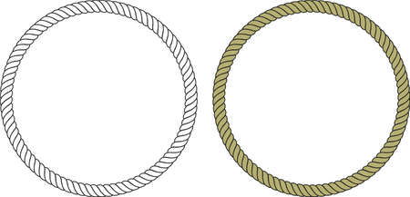 graceful round frame made of classic rope with white background and color Vectores