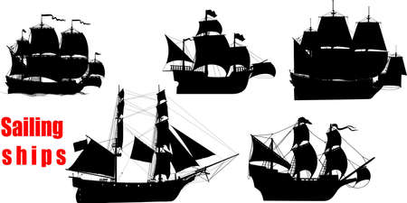 small set of black silhouettes of vintage sailing warships on white background Vectores