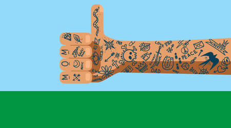 A primitive hand drawn with many simple yet trendy tattoos on a variety of themes throughout the area Vectores