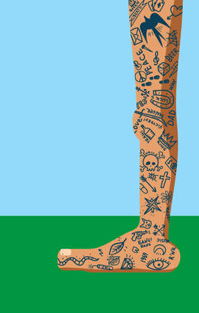 A primitive leg drawn with many simple yet trendy tattoos on a variety of themes throughout the area