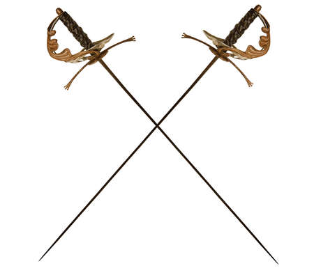 Two decorated vintage crossed epees for fencing isolated on white