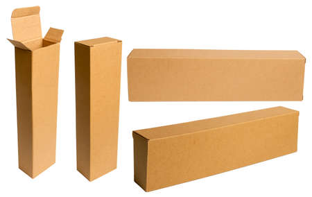 long empty beige cardboard box with several positions open and closed