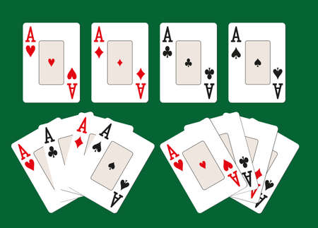 Four classic card aces of different suits on a green casino table Vectores