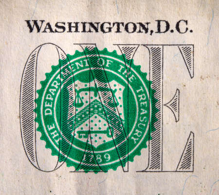 close-up image of a fragment of one dollar banknote of the US bank