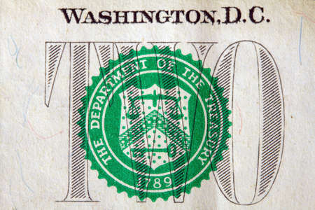 close-up image of a fragment of a US two dollar bill