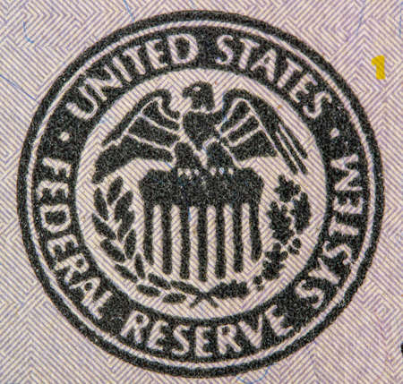 very large image of the federal reserve system of the United States of America one hundred dollar bill Foto de archivo
