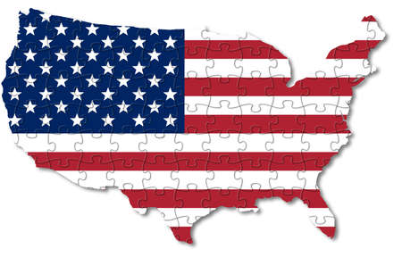 map of the United States of America with flag and puzzle background