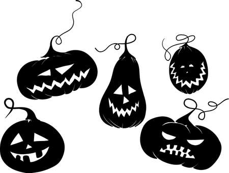 five black pumpkins for Halloween with different emotions on their faces