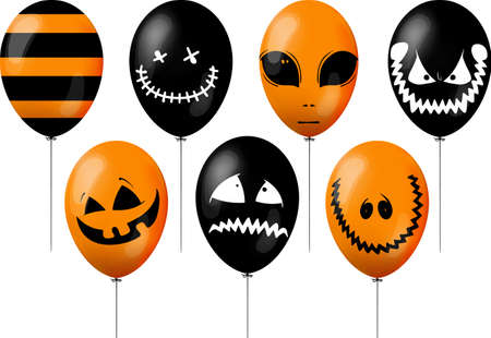 set of orange and black balloons for halloween celebration with different decorations