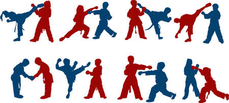 figures of sportsmen children boys and girls sparring in karate Çizim