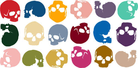 background of multi-colored skulls in several different positions