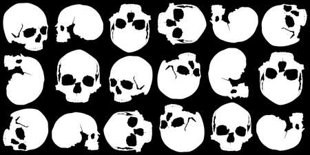 black background of white skulls in several different positions