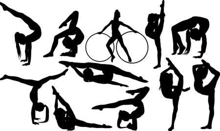 Set of flexible girls doing rhythmic gymnastics Векторная Иллюстрация