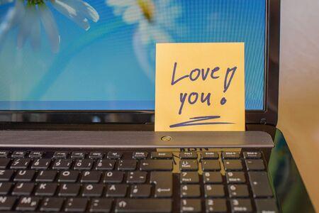 Memo at Laptop Love you