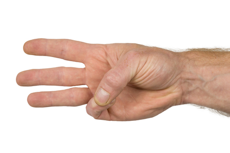 gesticulate: A hand shows finger signs