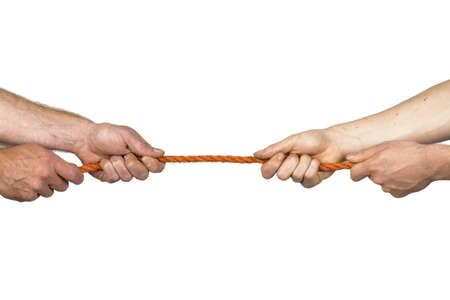 mutually: Two pair of hands move in a cord