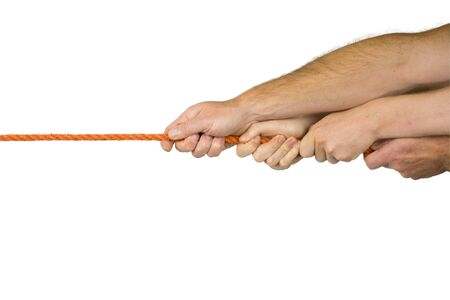Two pair of hands move in a cord photo