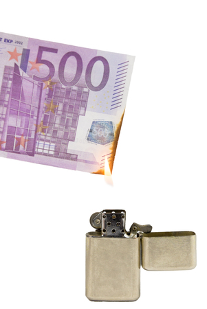 money to burn: With a lighter money is burnt symbolically