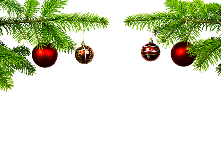 christmassy: Two fir branches with Christmassy decoration Stock Photo