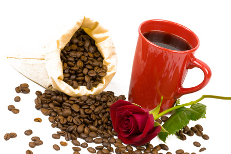 individually: A bag of coffeebeans, a cup and roses