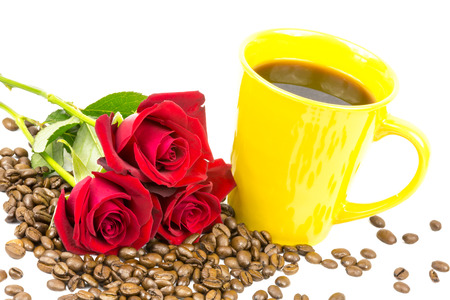 coffeebeans: coffeebeans, a cup and roses