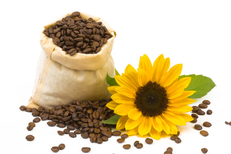 individually: A bag coffebeans and sunflowers