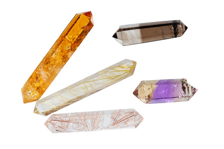 quarz: several crystals with different colours Stock Photo