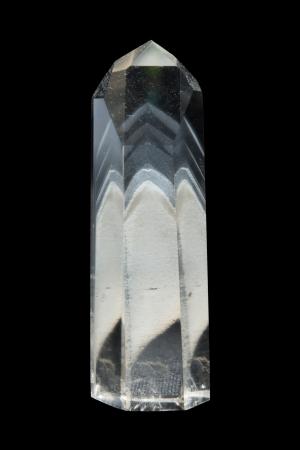 quarz: A big rock crystal with phantomcrystals Stock Photo