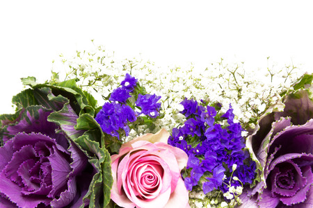 baby s: Flower decoration of roses, statice and baby s breath Stock Photo