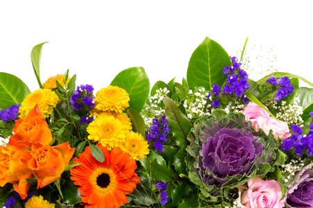 Two flower bouquets of roses, statice, marigold and chrysanthemum photo
