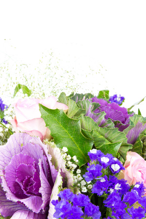 baby s: A bouquet of roses, statice and baby s breath Stock Photo