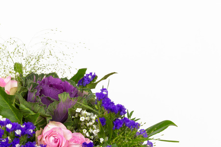 A bouquet of roses, statice and baby s breath photo